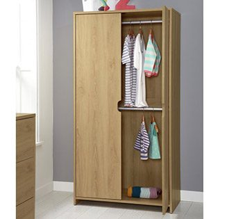 Mamas and Papas Rocco 3 wardrobe in warm oak