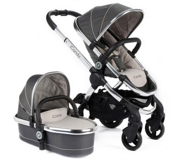 icandy peach buggy and travel system in silver and sand colour