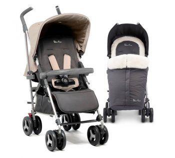silver cross reflex pushchair in silver with luxury footmuff